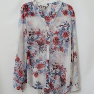 Kut from the Kloth Sheer Floral Button Up Tunic